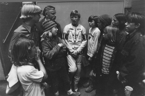 Meeting Kenny Roberts, 1971. He won 3 champioships in the early '80s