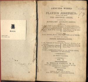 Josephus' Antiquities of the Jews 1806 edition of Whiston's translation