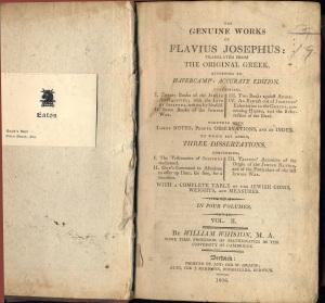 Josephus' Antiquities of the Jews 1806 edition of Whiston's translation