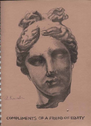 Classical statuary head by Agnes Kovach. Ad paid by an anonymous donor.
