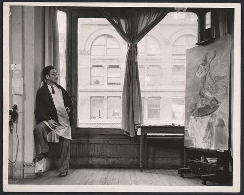 Kuniyoshi in his studio, looking north across 14th street.