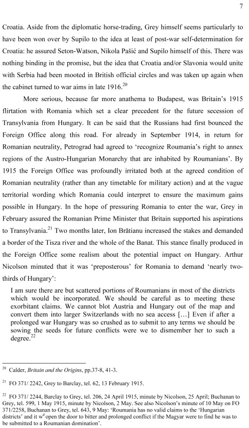 GREAT BRITAIN AND THE SPLINTERING OF GREATER HUNGARY